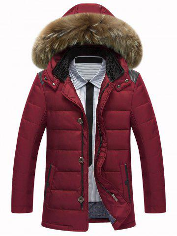 Best Zip Up PU Leather Insert Hooded Quilted Jacket WINE RED 3XL