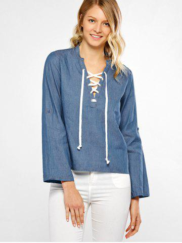 Outfits Lace-Up High Low Denim Blouse