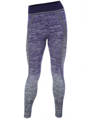 Chic Ombre Stretchy Running Leggings PURPLE ONE SIZE