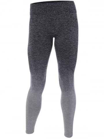 Cheap Ombre High Stretchy Running Leggings GRAY L