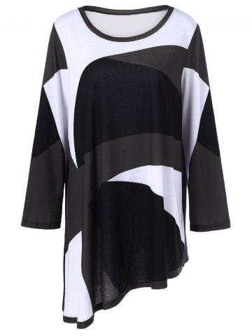 Hot Plus Size Abstract Print Asymmetrical T-Shirt WHITE AND BLACK 5XL