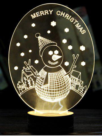 Merry Christmas Snow Man 3D LED base en bois Sleeping Night Light