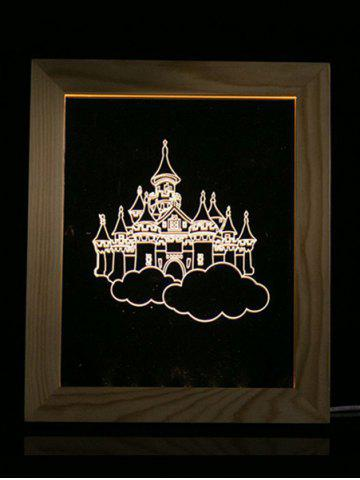 Fancy Wooden Photo Picture Frame Christmas Castle 3D Vision LED Night Light