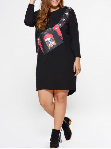 Latest Plus Size Girl Graphic Long Sleeve Tee Dress