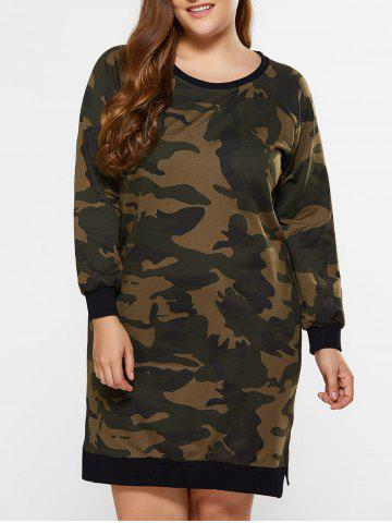 Outfits Plus Size Furcal Camo Printed Sweatshirt Dress