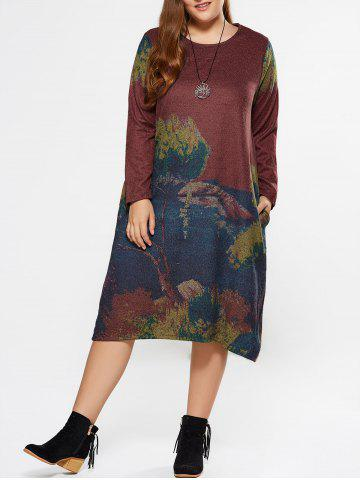 Shops Plus Size Painting Long Sleeve Dress With Pocket
