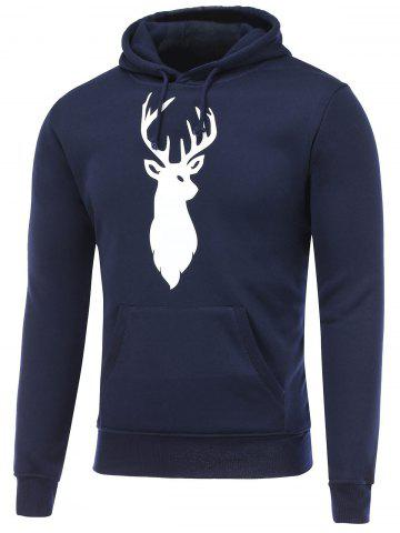 Fashion Deer Print Kangaroo Pocket Christmas Hoodie