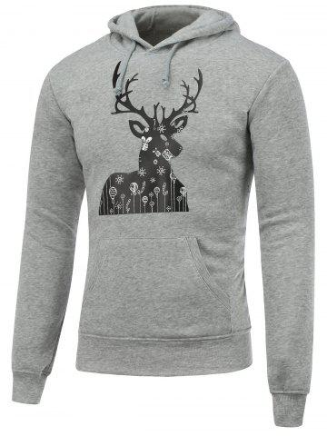 Fashion Pocket Deer Print Christmas Hoodie GRAY XL