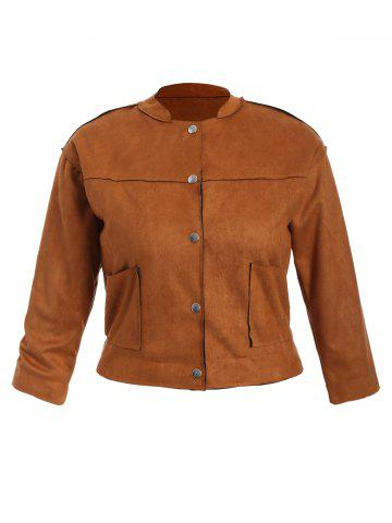 Affordable Plus Size Button Up Suede Jacket TAN 3XL