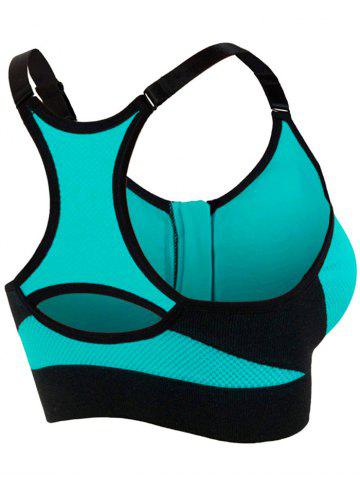 Buy Zipper Front Strappy Racerback Sports Bra - TURQUOISE M Mobile