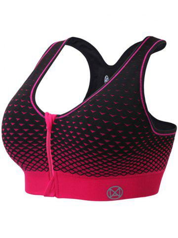 Store Zipper Front Contrast Racerback Yoga Push Up Sports Bra