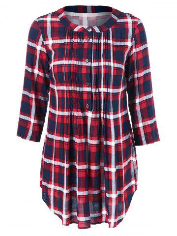 Affordable Curved Hem Pleated Plaid Blouse