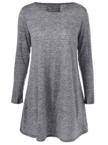 Shops Lace-Up Ribbed Long Sleeve Day Dress GRAY M