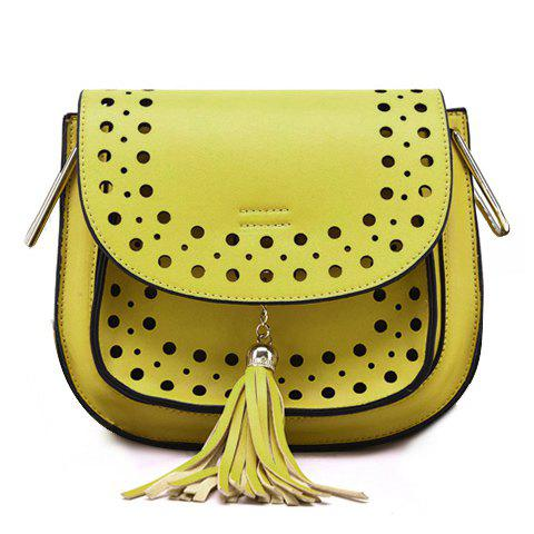 Outfit Trendy Hollow Out and Tassels Design Crossbody Bag For Women YELLOW
