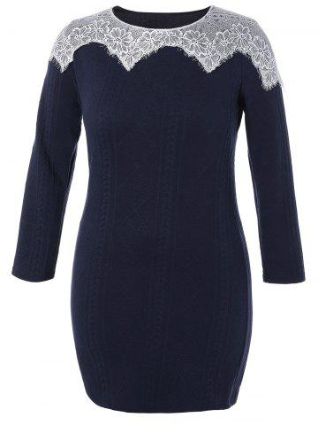Plus Size Lace Insert Knitted Mini Bodycon Dress - Cadetblue - 2xl