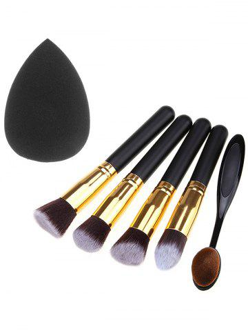 5 Pcs Fiber Makeup Brushes Set and Makeup Sponge - Black - Eu Plug