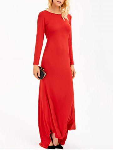 Backless Maxi Formal Long Sleeve Jersey Evening Dress - Red - M