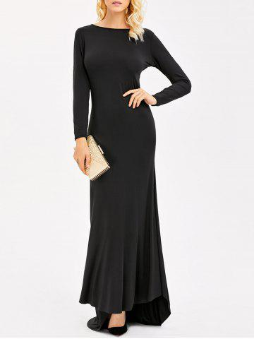 Outfit Backless Maxi Formal Long Sleeve Jersey Evening Dress BLACK L
