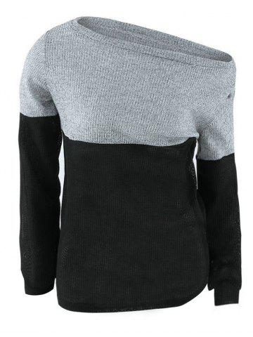 Color Block Off The Shoulder Sweater - BLACK XL