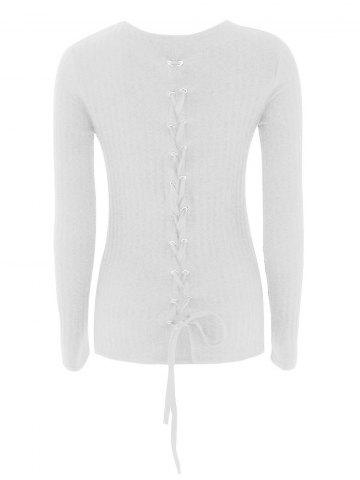 Chic Lace-Up Ribbed Knit Sweater WHITE XL