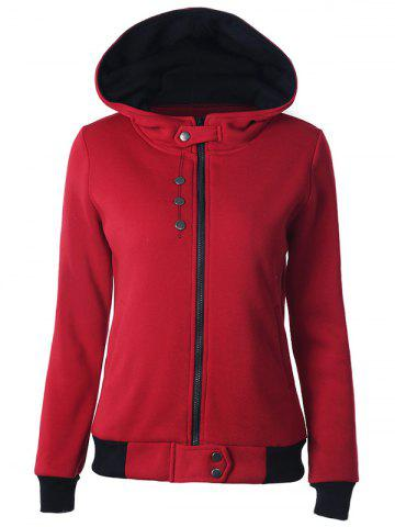 Zipper capuche Two Tone Hoodie Rouge 2XL