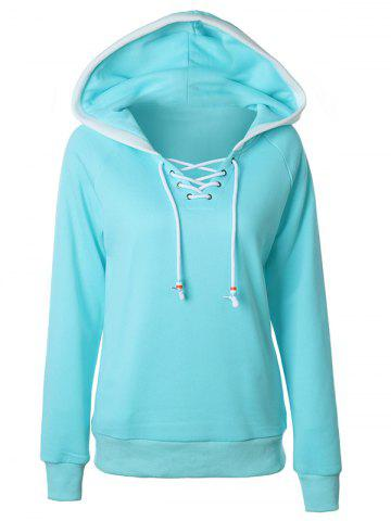 Lace Up Raglan Sleeve Two Tone Hoodie - Light Blue - L