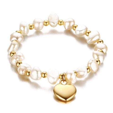 Polished Heart Faux Pearl Bracelet