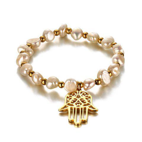 Buy Faux Pearl Hollow Hand Charm Bracelet GOLDEN