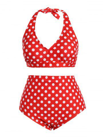 Retro Halter Polka Dot Plus Size Pin Up Bikini Set - Red - 2xl