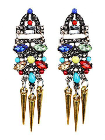 Discount Fake Crystal Embellished Rivet Tassel Earrings