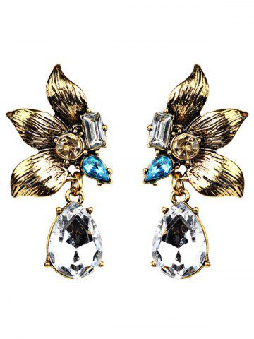 Hot Water Drop Shape Fake Crystal Petals Earrings