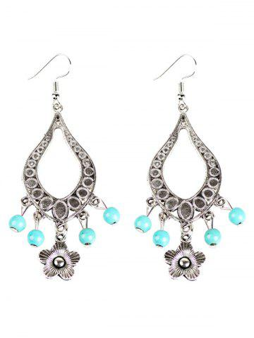 Shop Flower Bead Hollowed Water Drop Earrings
