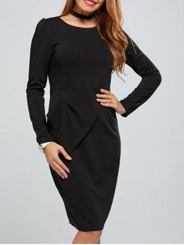 Hot Zippered Long Sleeve Bodycon Dress With Belt