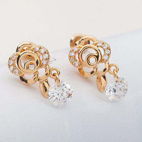 Fancy Floral Shape Rhinestone Earrings GOLDEN