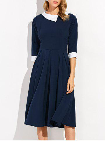 Chic Zippered Half Sleeve Lapel Dress