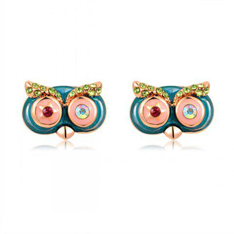 Pair of Rhinestone Cartoon Owl Earrings - Blue - 2xl