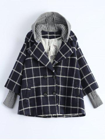 Trendy Hooded Plus Size Plaid Coat