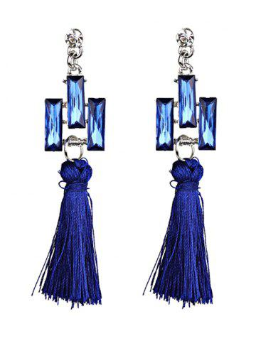 Faux Crystal Tassel Dangle Earrings - Blue