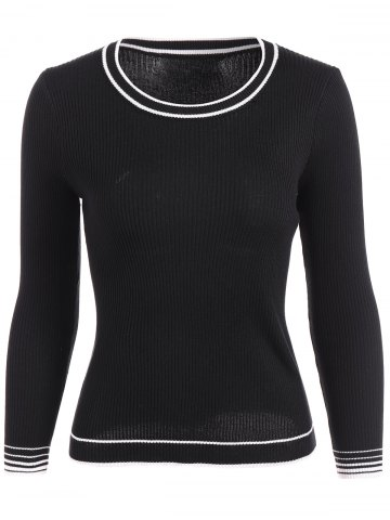 Hot Pullover Ribbed Striped Knitwear BLACK ONE SIZE