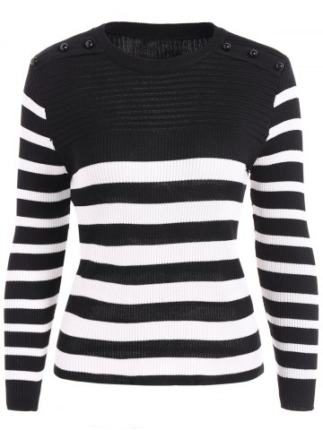 Cheap Ribbed  Striped Beads Knitwear BLACK ONE SIZE
