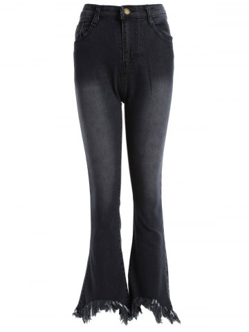 New Frayed Skinny Flare Jeans BLACK 5XL