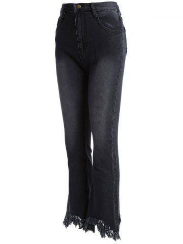 Cheap Frayed Skinny Flare Jeans - 4XL BLACK Mobile