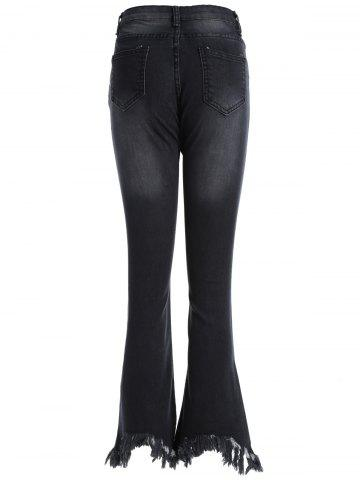 Outfit Frayed Skinny Flare Jeans - 4XL BLACK Mobile