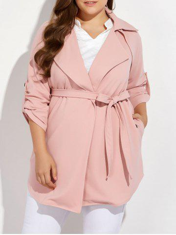 Plus Size Wrap Coat - Pink - 3xl