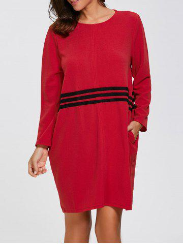 Affordable Striped Long Sleeve Oversized Dress RED L