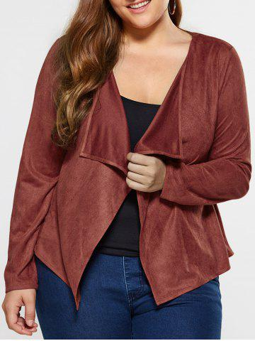 Affordable Plus Size Suede Coat BROWN XL