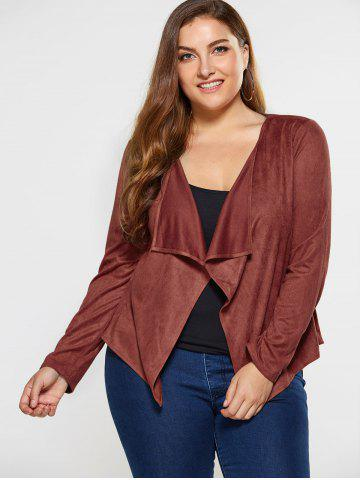 Fashion Plus Size Suede Coat - 5XL BROWN Mobile