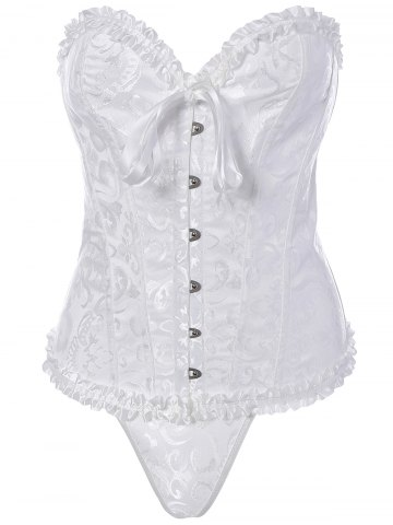 Outfits Strapless Body Shaper Ruffle Lace Up Jacquard Corset