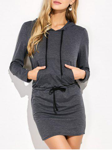 Discount Mini Long Sleeve Hoodie Dress GRAY S