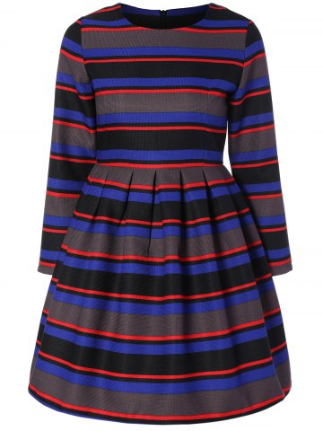 Affordable Long Sleeve Striped A Line Dress